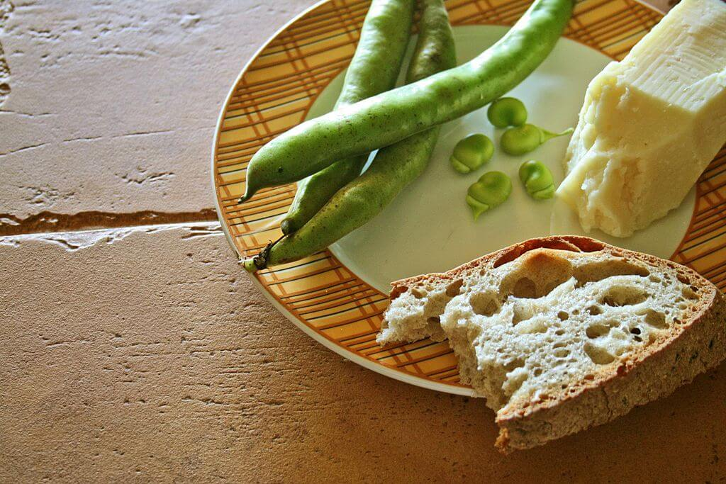 broad beans and pecorino cheese