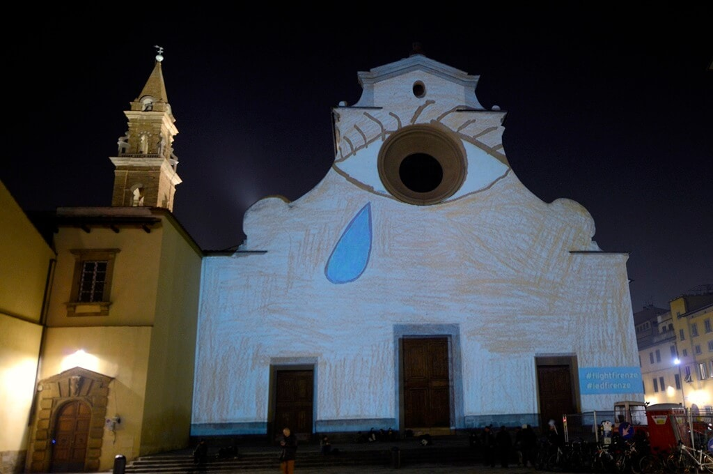 Santo Spirito square light festival florence