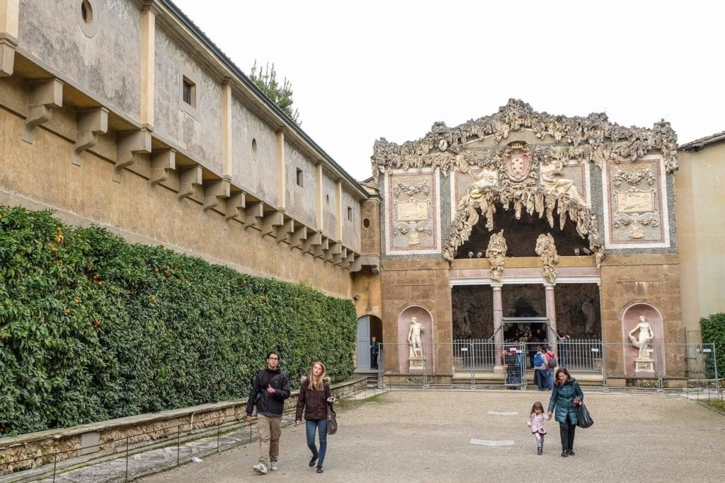 The Grotta del Buontalenti into the Boboli Gardens
