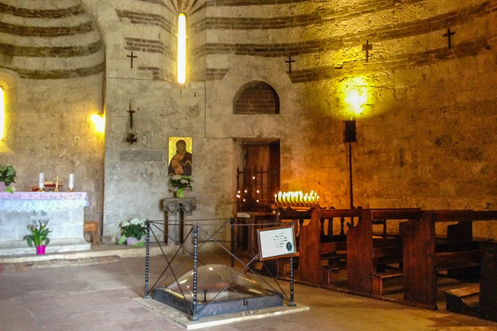 The interior of the retreat of Monte Siepi with the chapel and the sword in the stone