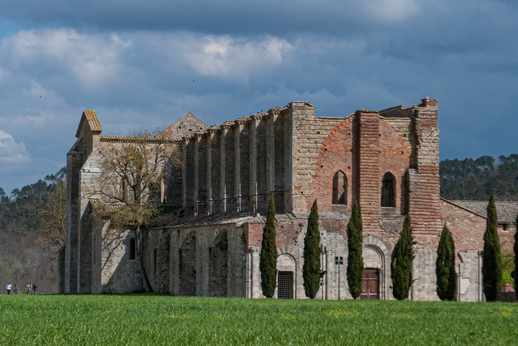 The abbey and the row of cypresses