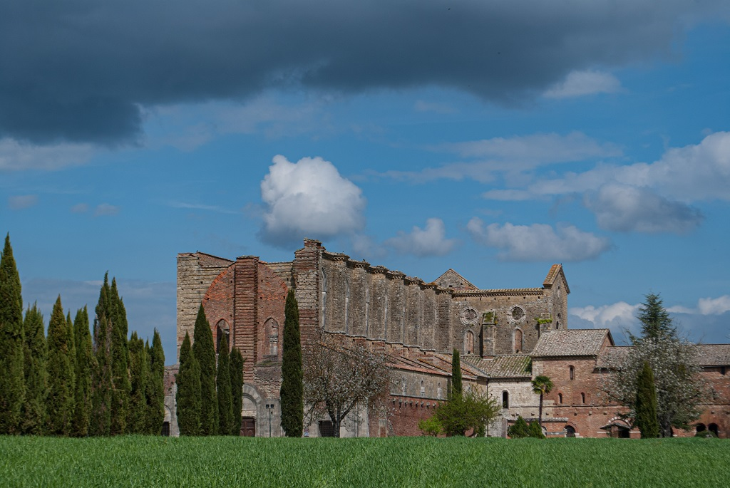 View of the complex of San Galgano Abbey
