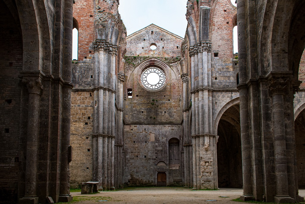 View of one of the wings of the church of San Galgano in Tuscany