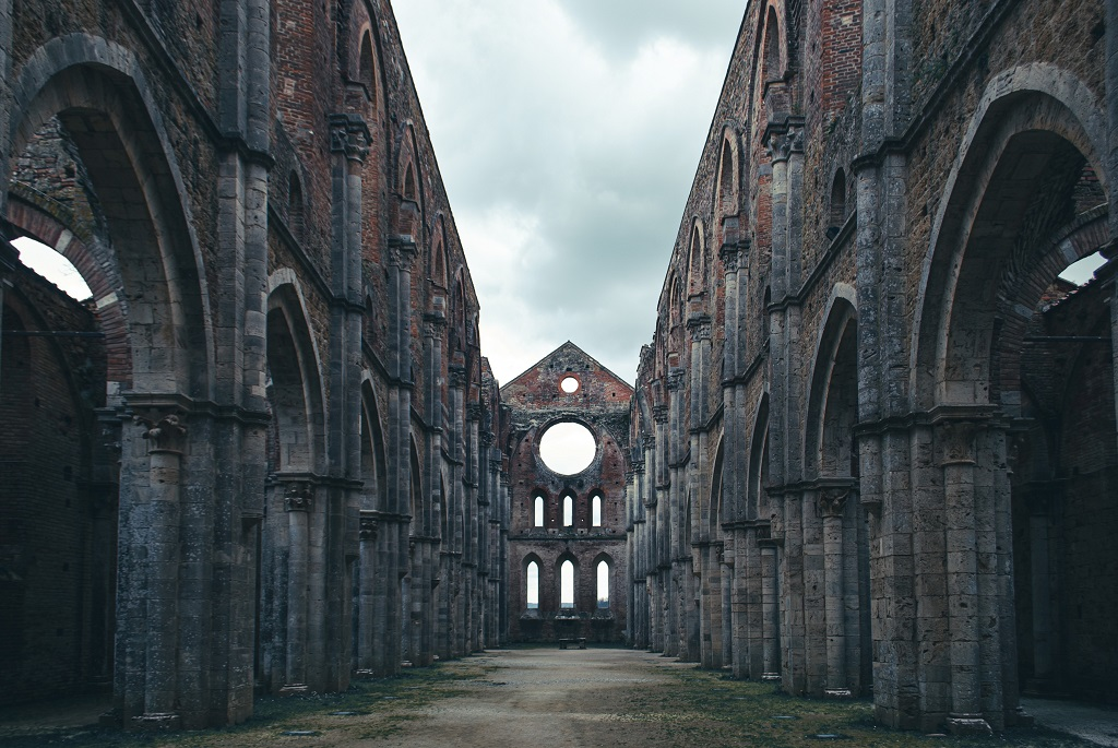 The roofless Abbey of San Galgano in Tuscany