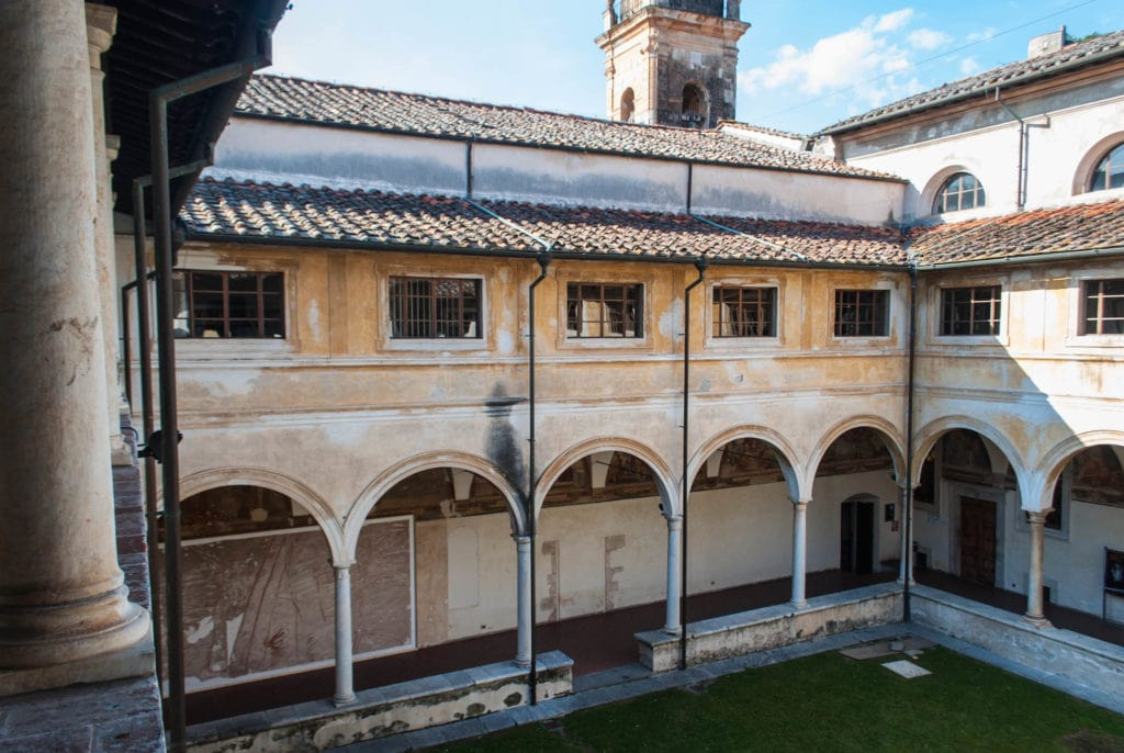 Inside the cloister of Saint Agostino in Versilia in Tuscany