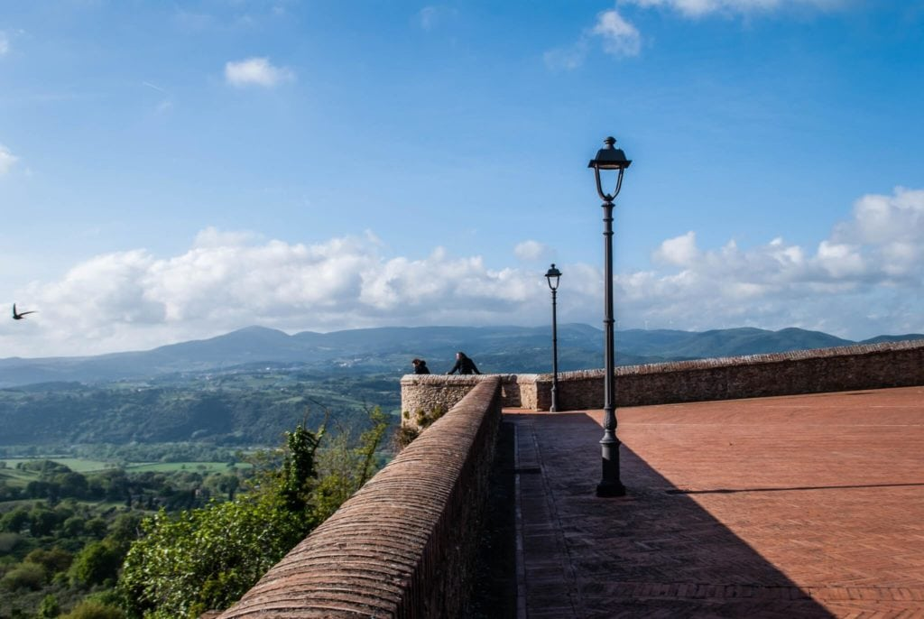 Montescudaio panoramic square Tuscany villages