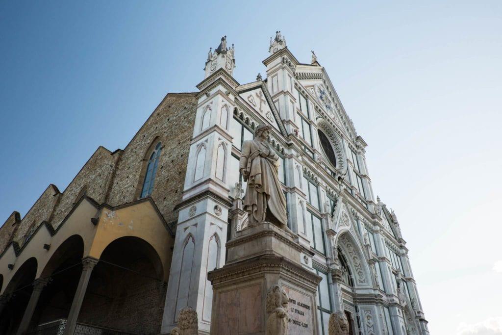 The Façade of Santa Croce and Dante statue