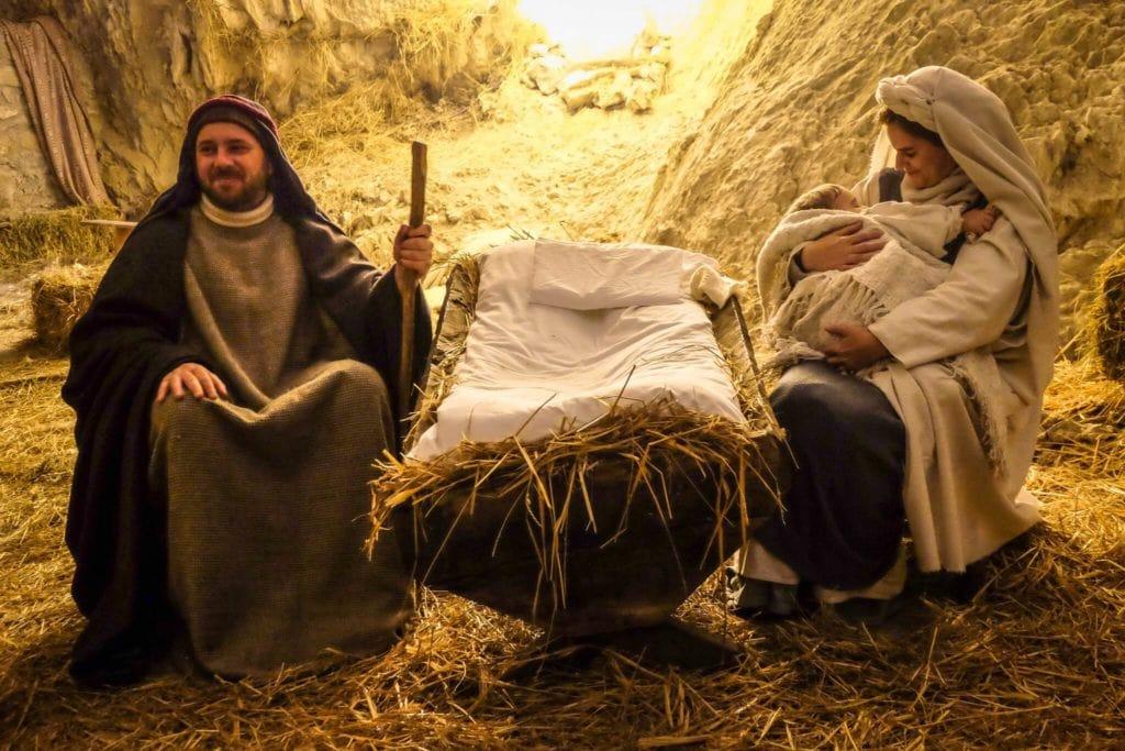 nativity scene of Equi Terme jesus mary joseph manger