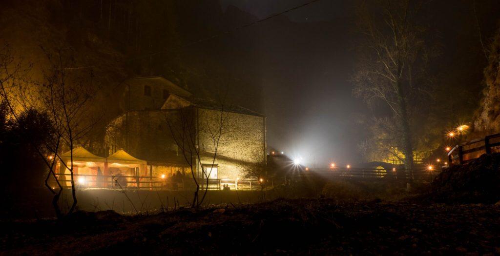 nativity scene of equi terme view night