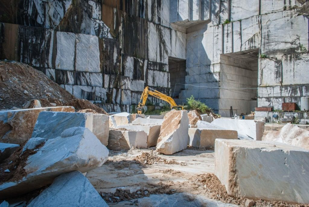 Inside a marble quarry in Carrara Italy
