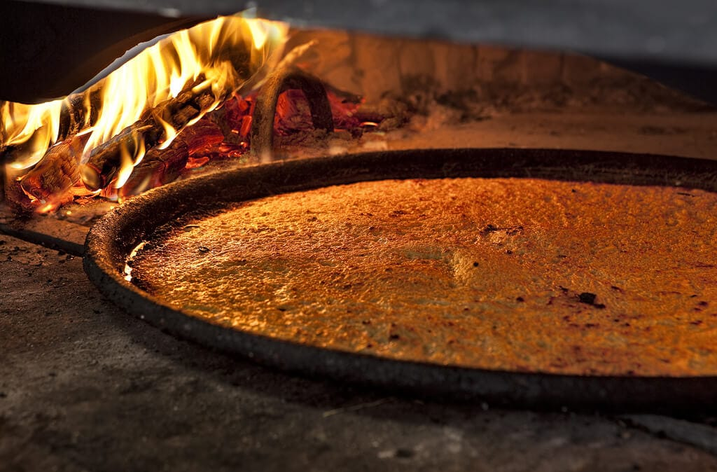 Chickpea Flatbread in wood oven
