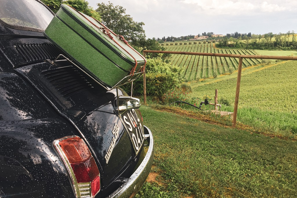 Vintage FIAT 500 in the Tuscan Countryside