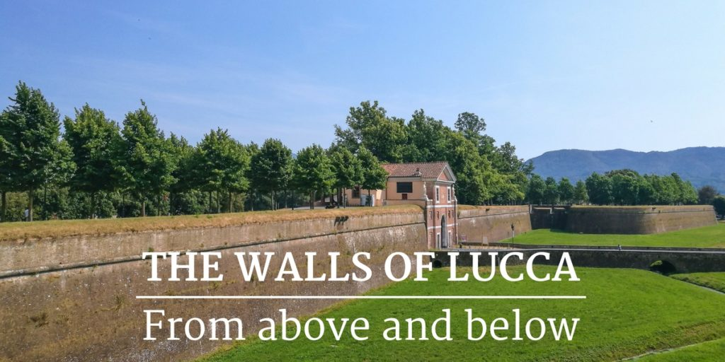 The walls of Lucca see from above and below