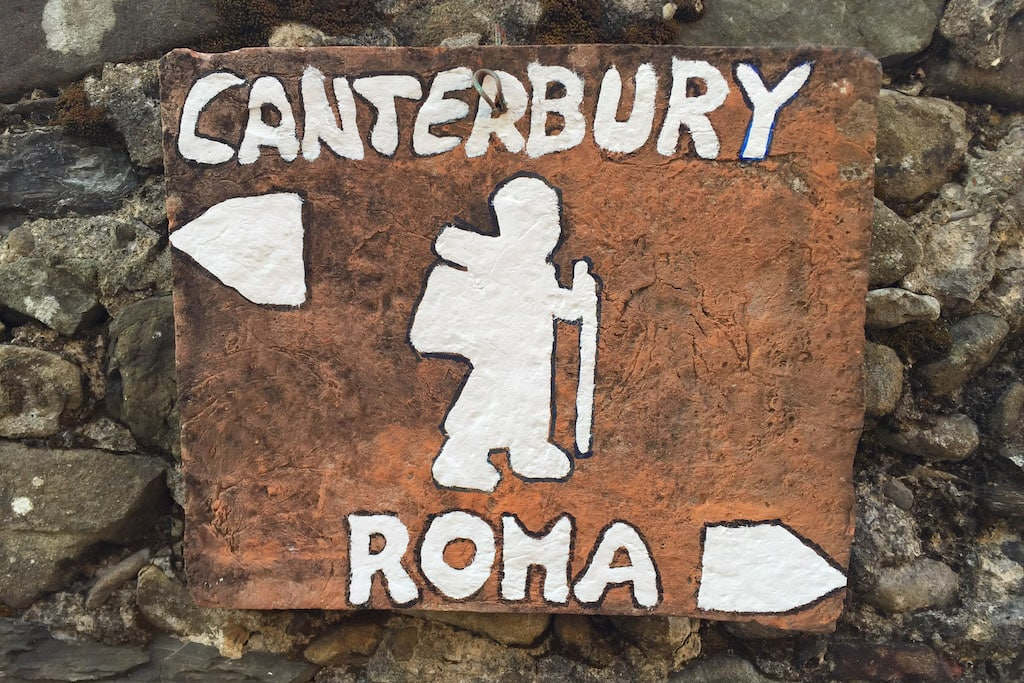 Signs along Via Francigena