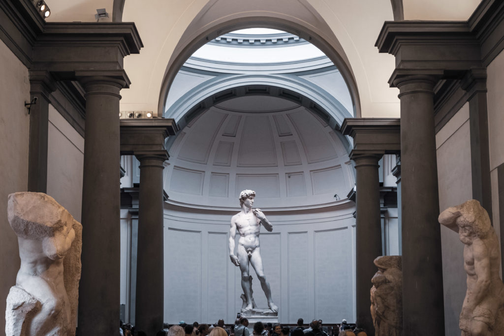 The David of Michelangelo from the corridor of the Galleria dell'Accademia