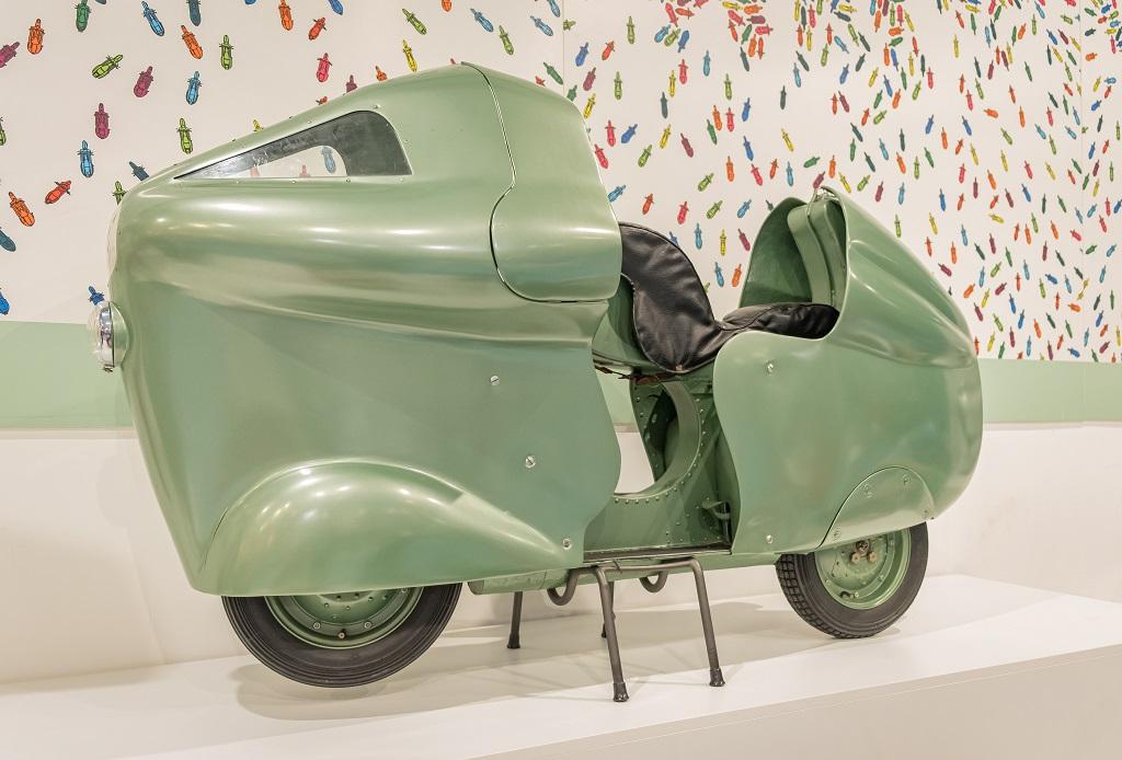 Racing model of Vespa, Piaggio Museum Valdera in Tuscany