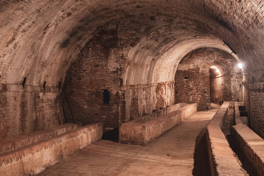 The Basement of Villa Baciocchi, Archaeological Museum Valdera in Tuscany