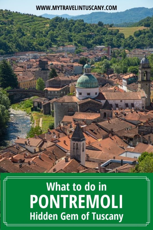 Cover Pinterest with view of Pontremoli Tuscany