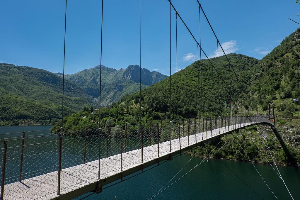 Suspension bridge over Lake Vagli Tuscany