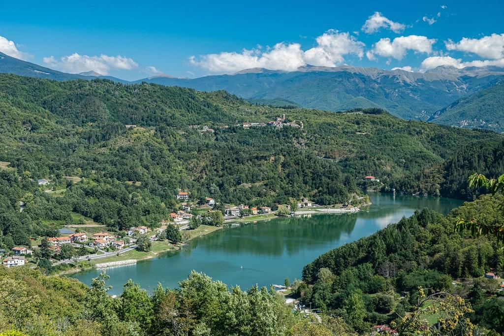 Lake Gramolazzo Garfagnana, view from the church of Gorfigliano