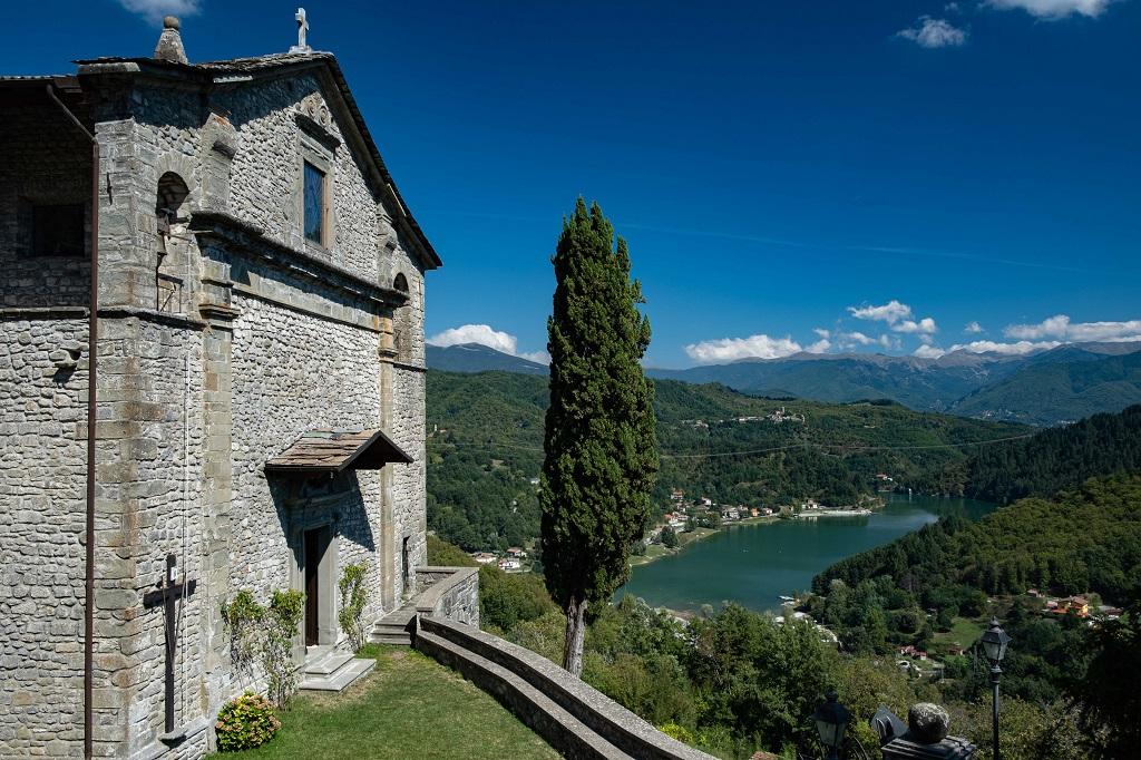 View of Lake Gramolazzo from the Church of Gorfigliano