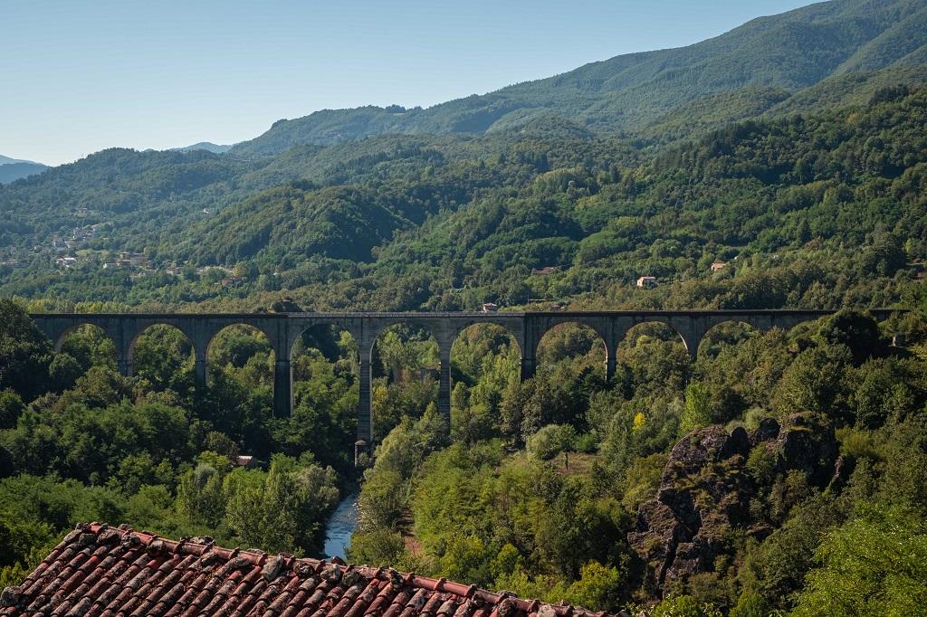 The train bridge seen from the village of Sambuca, Garfagnana Tuscany Italy
