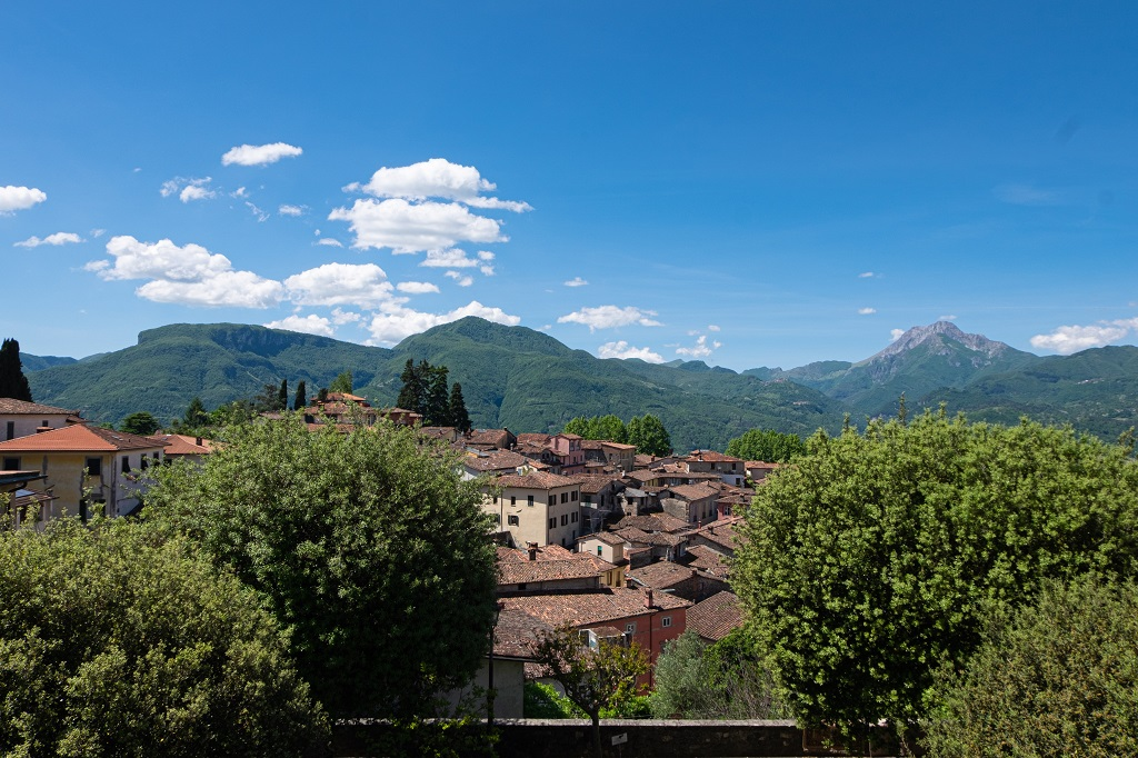 The town of Barga seen from the square of the Duomo, Garfagnana, Tuscany