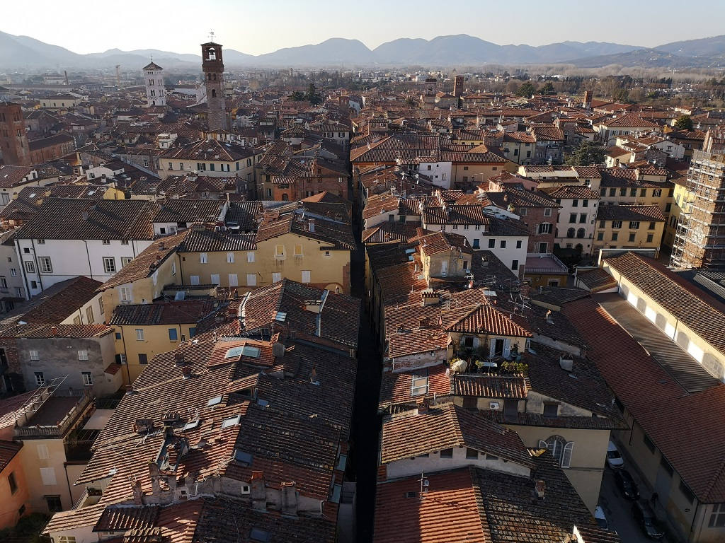 Roofs of Lucca Italy from Guinigi Tower