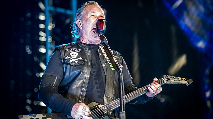 Leader of Metallica performing on a stage